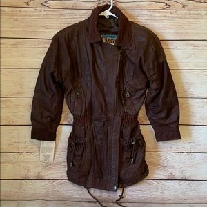 NWT Genuine Brown Leather Jacket Girls Size M